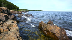 Serene shore at Fort McClary Stock Footage