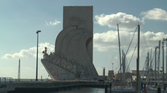 monument to the discoveries in Belem Lisbon - stock footage