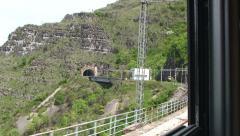 Railway in Montenegro thru Moraca Canyon Stock Footage