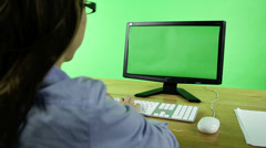 business woman with computer green screen - stock footage