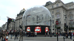 Eros 'Snow Globe', Piccadilly Circus, London, UK. - stock footage