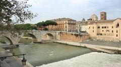 Tiber Island hospital in Rome Stock Footage