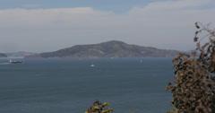 Ultra HD 4K Industrial Ship Transportation Sailboat Boat Passing San Francisco Stock Footage