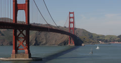 Ultra HD 4K Famous Golden Gate Bridge San Francisco Bay Boat Ship Cars Traffic Stock Footage
