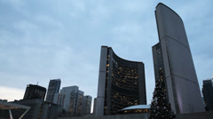 Dusk At Toronto City Hall - stock footage