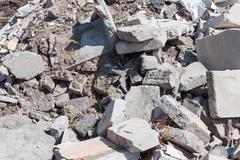 concrete debris on construction site - stock photo