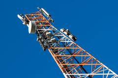Communications tower with antenna Stock Photos