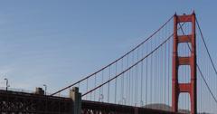 Ultra HD 4K Famous Golden Gate Bridge, San Francisco Bay, Boat Ship Cars Traffic Stock Footage