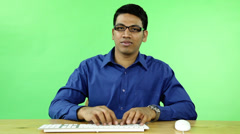 Business man webcam with computer on green screen Stock Footage