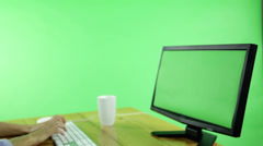 Business woman with computer green screen Stock Footage