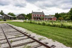 railroad leading into distance - stock photo