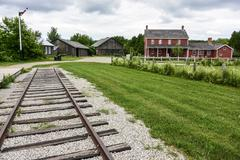 Railroad leading into distance Stock Photos
