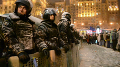 Police cordon in Kiev, Ukraine. - stock footage