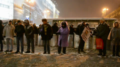 People guard during Euro maidan meeting in Kiev, Ukraine. Stock Footage