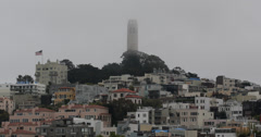 Ultra HD 4K San Francisco Telegraph Hill Coit Tower, Urban Buildings Rooftop Day Stock Footage