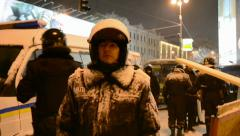 Riot police during Euro maidan meeting in Kiev, Ukraine. Stock Footage