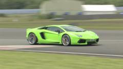 Lamborghini Aventador on track Stock Footage