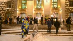 People near Kiev State City Administration, Euro maidan meeting, Kiev, Ukraine. Stock Footage