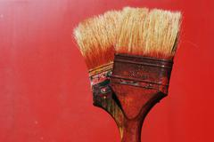 Dirty paintbrushes Stock Photos