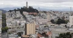 Ultra HD 4K UHD Pioneer Park, San Francisco Skyline, Telegraph Hill Coit Tower Stock Footage