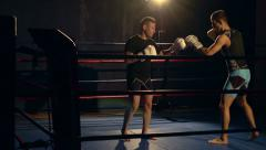 Mixed Martial Arts - Boxing - touching gloves - stock footage