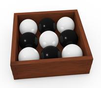 black and white spheres - stock illustration
