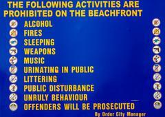 Stock Illustration of Prohibited Beach Activities Sign