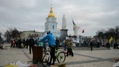 Biker during Euro maidan meeting in Kiev on December 01, 2013. Stock Footage