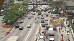 051 Sao Paulo, cars, traffic, people, highway Stock Footage
