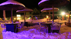 Tables under snow Stock Footage