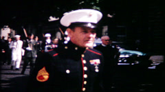 715 marines march in the hometown parade - vintage film home movie Stock Footage