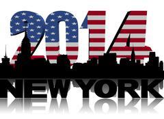 New Yorkin horisonttiin kanssa 2014 yhdysvaltain lipun teksti kuva Piirros