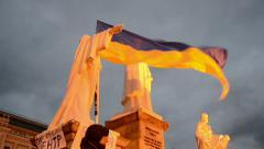 Flags during Euro maidan meeting in Kiev, Ukraine. Stock Footage