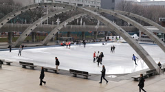 Nathan Philips Square Ice Skating Stock Footage