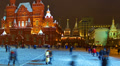 Moscow Kremlin and Historical Museum at winter night, time-lapse. HD Footage