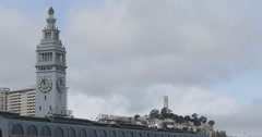 Ultra HD 4K Skyline San Francisco Historic Ferry Building Coit Tower Bay Area Stock Footage