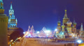 Moscow Kremlin and St. Basil's Cathedral at winter night, Christmas time. HD Footage