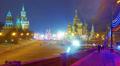 Moscow Kremlin and St. Basil's Cathedral at winter night, Christmas time. Footage