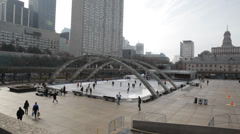 Nathan Phillips Square Toronto In Winter Stock Footage