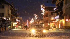 People shopping in Livigno at Christmas time Stock Footage