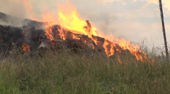 Firefighter1 barn burning-PAN Stock Footage