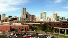 Denver Skyline from Auraria Campus Stock Footage