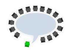 Stock Illustration of office chairs around speech bubble table