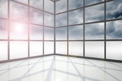 Stock Illustration of Gloomy sky seen through window