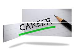 Stock Illustration of Career in handwriting on abstract screen