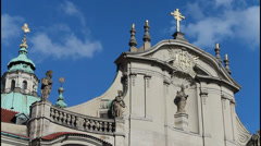 Clouds over the church, religious holidays, church of st. Nicholas in Prague Stock Footage
