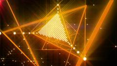 Orange Spinning Triangle Lights Abstract Background for use with music videos Stock Footage