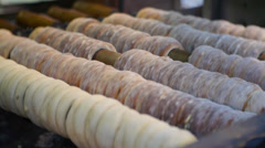 traditional sweet dough baked on the grill, Czech Christmas Trdelnik No.1 - stock footage