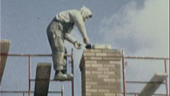 Stock Video Footage of MASON Building Chimney Scaffold CONSTRUCTION 1960s Vintage Film Home Movie 7439