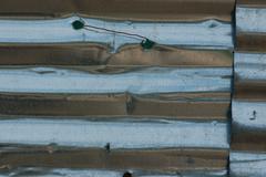 corrugated aluminum metal background - stock photo